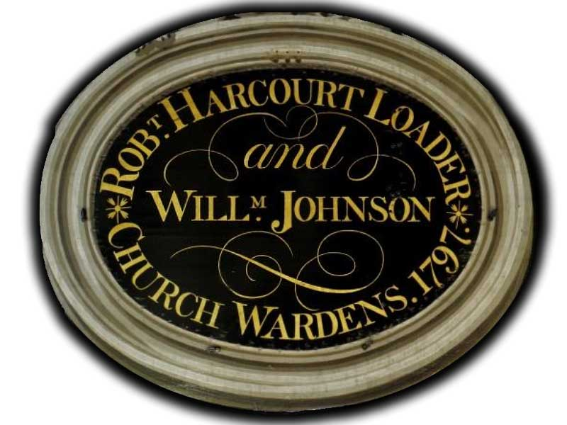 Robert Harcourt Loader and William Johnson Churchwardens 1797