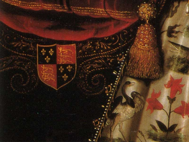 detail of Elizabeth I portrait showing embroidered coat of arms