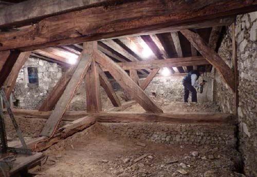 rafters in the Lady Chapel roof space