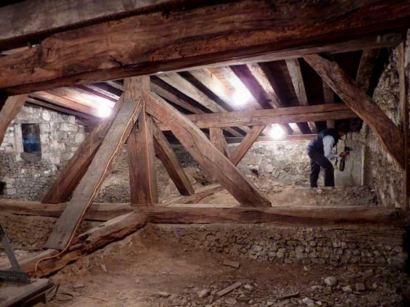 restorers at work in the Lady Chapel roof space
