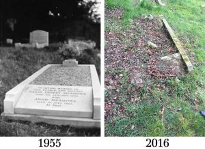 Meadows grave in 1955 and in a dilapidated state in 2016