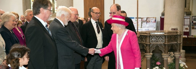 HM the Queen is welcomed to St Peter's Church