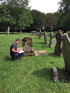 Michael Sheppard of Cliveden Conservation surveynig monuments