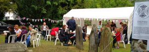 refreshment tent and bunting in the graveyard event