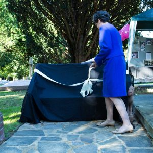 Sarah Foot unveiling the seat