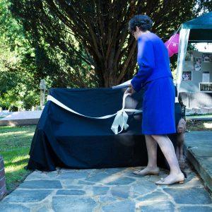 Sarah Foot unveiling the seat