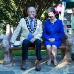 Sarah Foot and Berkhamsted Mayor Tom Ritchie on the seat