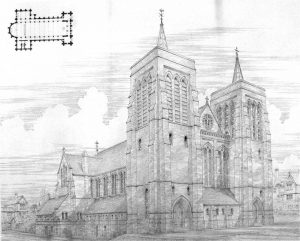 drawing of the original plans for All Saints Church