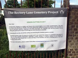 notice in the cemetery about letting the grass grow